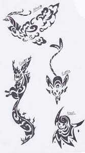 altaria flareon espeon and absol tribal tattoos by deer head on