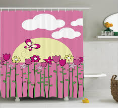 Childrens Shower Curtains by Kids Shower Curtain Pink Flowers Butterflies Bathroom Decor Ebay