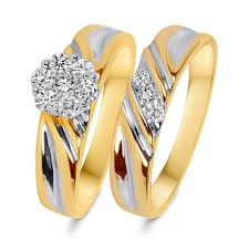 3 8 carat t w trio matching wedding ring set 14k yellow gold 3 8 carat t w s bridal wedding ring set 14k yellow gold