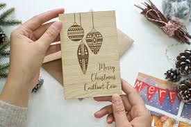 baubles wooden greeting card