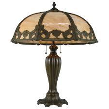 signed miller art nouveau eight panel slag glass lamp in caramel