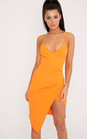 orange dress lauriell bright orange wrap front crepe midi dress dresses