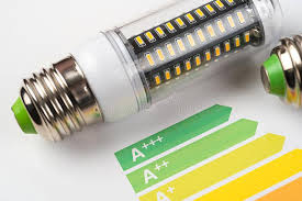 led light energy calculator energy efficiency concept with energy rating chart and led l