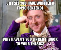 Meme Sentences - oh i see you have written a topic sentence why haven t you linked