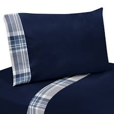 Twin Plaid Bedding by Navy Blue And Gray Children Kids Twin Bed Sheet Set Plaid Bedding