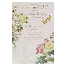 Golden Wedding Invitation Cards Hallmark 50th Golden Anniversary Card For Mum And Dad Heart