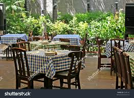 Patio Tablecloth by Outdoor Italian Restaurant Chairs Tables Checked Stock Photo