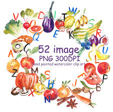 sale 50 watercolor abc fruits and vegetables clipart for instant
