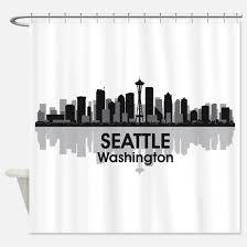 Curtains Seattle Seattle Skyline Shower Curtains Cafepress