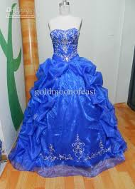 royal blue wedding dresses gown sweetheart embroidery organza
