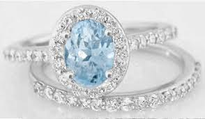 aquamarine and diamond ring aquamarine diamond halo engagement ring with matching diamond band