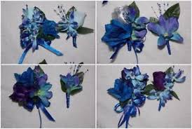 royal blue boutonniere 2pcs pin on corsage boutonniere set blue purple orchids royal