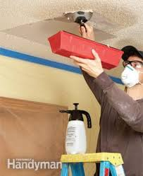 Repair Textured Ceiling by How To Patch A Textured Ceiling Family Handyman