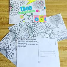 teen coloring postcards outreach at the public library of mount