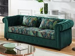canapé vert canapé et fauteuil velours vert imprimé chesterfield
