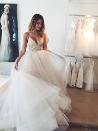 spaghetti strap empire bridal dresses crystal tulle v neck wedding
