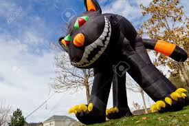 halloween inflateables large inflatable halloween black cat lawn decoration stock photo