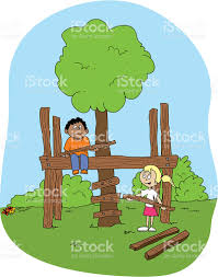 building your own tree house how to build a house boy and girl building a tree house stock vector art more images of