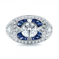 art deco diamond and blue sapphire engagement ring 101985