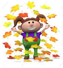 imagenes animadas de otoño chica de dibujos animados jugando con el otoño hojas 3d