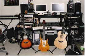 Music Studio Desk Design by Minimalist Space For Home Music Studio Design With 3 Standing