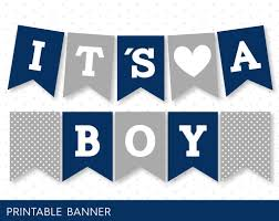 it s a boy baby shower banner in navy blue and grey pb 59 u2013 js
