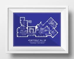 Tv Show Apartment Floor Plans Seinfeld Poster Seinfeld Tv Show Apartment Floor Plan