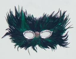 feather masks green feather eye mask