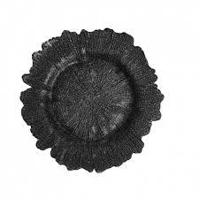 flora glass charger plates black bulk 4 plates 403411 black