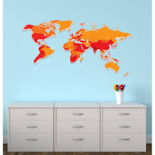 World Map Decal by Childrens Bedroom Wall Stickers World Map Wall Decor For Kids