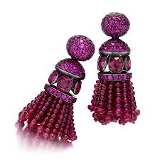 hemmerle earrings a pair of ruby and pink sapphire tassel ear pendants by hemmerle
