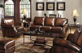 Living Room Furniture Groups Overstuffed Leather Chair And Ottoman Leather And Wood Living Room