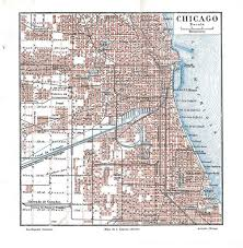 chicago map streets vintage city plan chicago united states by carambasvintage
