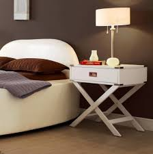 Modern Wood Bedroom Furniture White Nightstand Accent Table Modern Wood X Base End Storage
