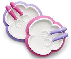 plates that stick to table amazon com babybjorn baby plate spoon and fork pink purple 2