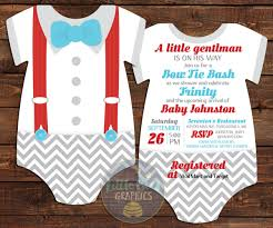 cute and sweet bow tie baby shower invitations card download