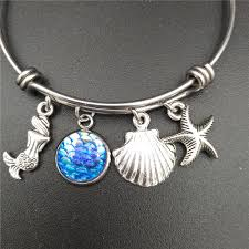 steel necklace wire images Stainless steel expandable wire bangle beach sea mermaid charm jpg