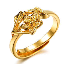 bridal gold ring opk jewelry promotion bridal jewelry 18k yellow gold plated flower