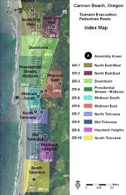 Oregon Beaches Map by Tsunami Evacuation Routes U0026 Assembly Areas City Of Cannon Beach