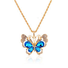necklace butterfly pendant images Wholesale retro luxury jewelry colorful butterfly pendant vintage jpg
