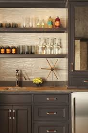 Kitchen Cabinets Open Shelving Built In Bar Gray Cabinets Open Shelving Leather Hardware Pulls