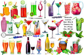 watercolor cocktail watercolor cocktails wine u0026 beer illustrations creative market