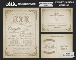 rustic chic wedding invitations new serendipty collection vintage gold wedding invitation