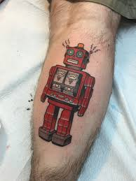 tin robot by tyson ardnt elm street tattoo guest artist dallas
