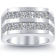 mens white gold wedding rings 4 50 carat diamond mens wedding band ring 14k white gold
