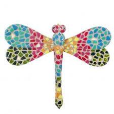 haku tropical design yellow metal garden dragonfly wall