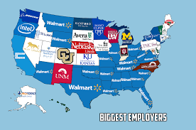 Usa Religion Map by The Biggest Employer In Each Us State Vivid Maps