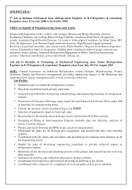 Sample Resume For Diploma In Mechanical Engineering by Refrigeration Engineer C V 28 11 15