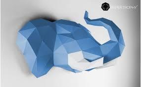 origami chambre bébé trophée mural origami elephant bleu pour la décoration de chambre