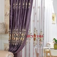 Curtains Floral Elegant Curtains Floral Embroidery Velvet Purple Room Darkening